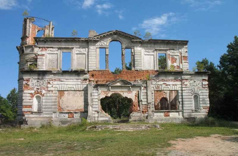 Центральний фасад маєтку. Збереглись архітектурні деталі прикрас будинку у вигляді ліпних фресок, ніш для статуй, пілястр, портиків, східців, колон.